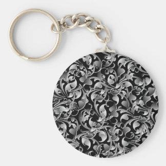 Black & Silver Twining Leaves Keychain