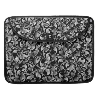 Black & Silver Twining Leaves MacBook Pro Sleeve