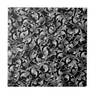 Black & Silver Twining Leaves Ceramic Tile