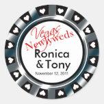 Black & Silver Vegas Newlyweds Casino Chip Classic Round Sticker