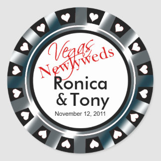 Black & Silver Vegas Newlyweds Casino Chip Sticker