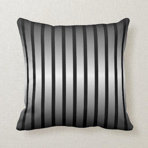 Black Silver Throw Pillow : Black Silver Vertical Stripe Throw Pillow Zazzle