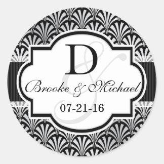 Black & Silver Vintage Art Deco Wedding Classic Round Sticker