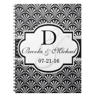 Black & Silver Vintage Art Deco Wedding Spiral Notebook