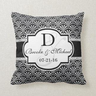 Black & Silver Vintage Art Deco Wedding Throw Pillow