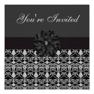 Black & Silver Vintage Elegance Birthday Party Card