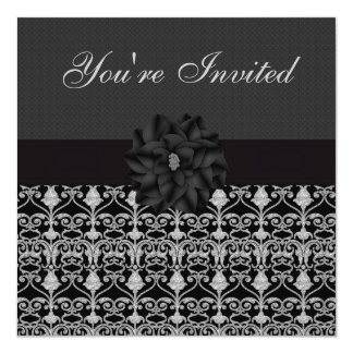 Black & Silver Vintage Elegance Birthday Party 5.25x5.25 Square Paper Invitation Card