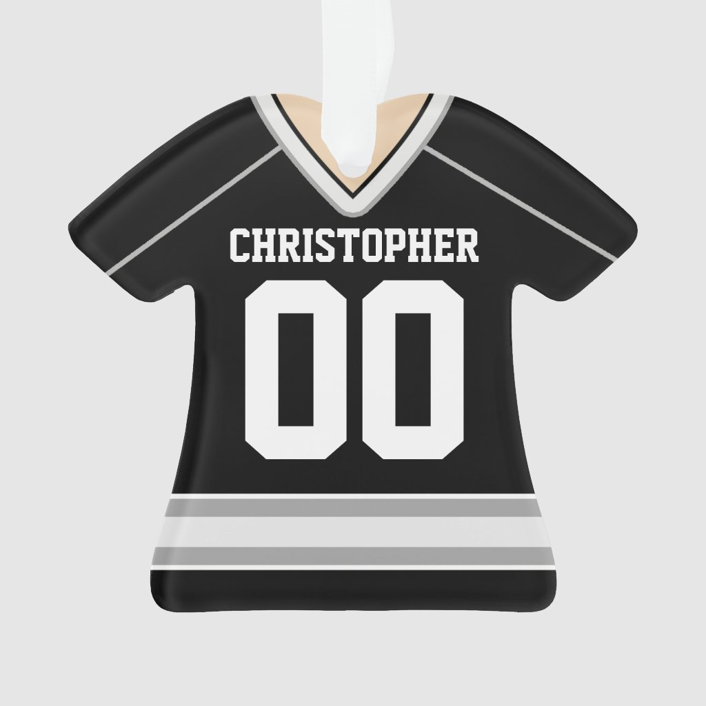 Black/Silver/White Custom Hockey Jersey Ornament