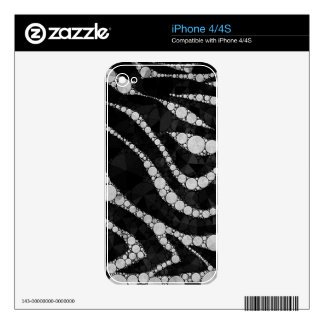 Black Silver Zebra Abstract Texture iPhone 4 Decals