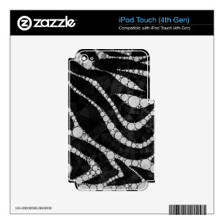 Black Silver Zebra Abstract Texture iPod Touch 4G Skins