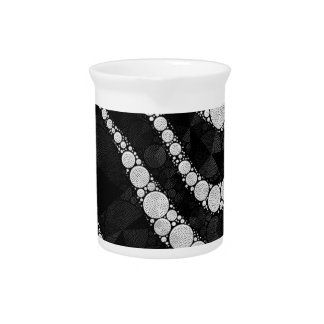 Black Silver Zebra Abstract Texture Pitcher