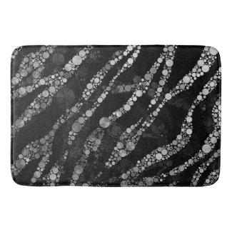 Black Silver Zebra Bling Bath Mat