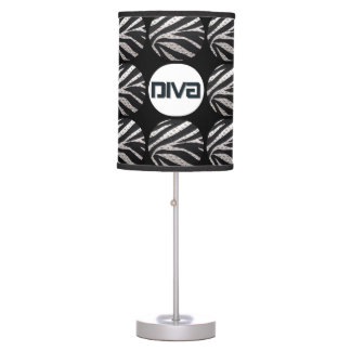 Black silver zebra diva metal texture table lamp - Table lamps for teens ...