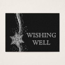 black SilverSnowflakes Winter wedding wishing well Business Card