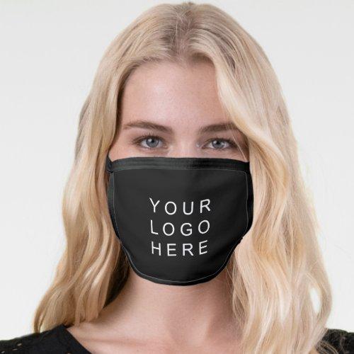 Black Simple Business Logo Face Mask