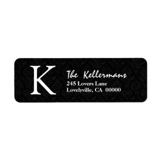 Black Simple Monogram K or Any Initial V209 Label