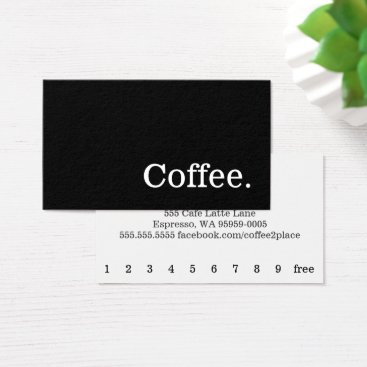 coffeepunch Black Simple News Word Dark Loyalty Punch-Card Business Card