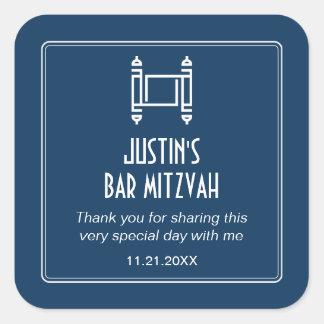 Black Simple Torah Bar Mitzvah Square Sticker