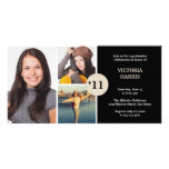 Black simply collage class of grad announcement photo card