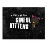 Black Sinful Kittens PostCard