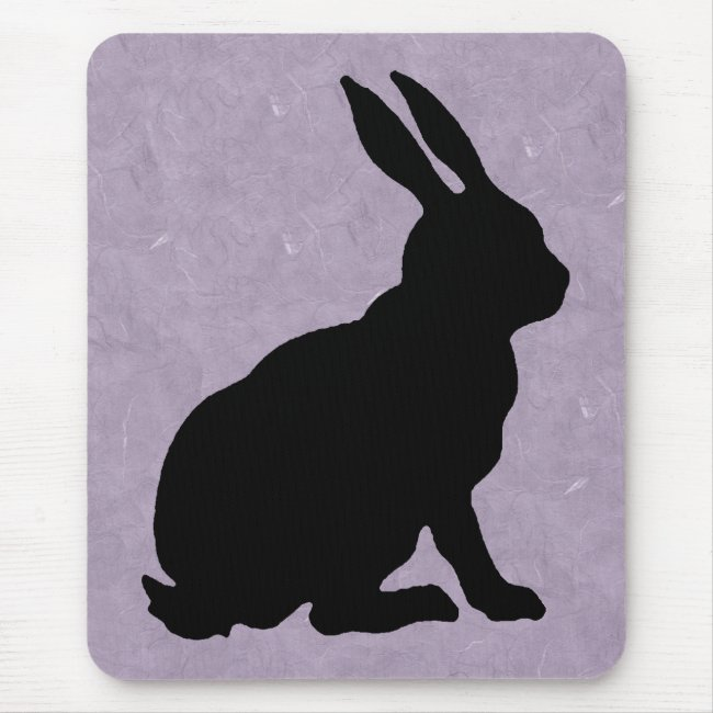 Black Sitting Silhouette Rabbit on Marbled Purple
