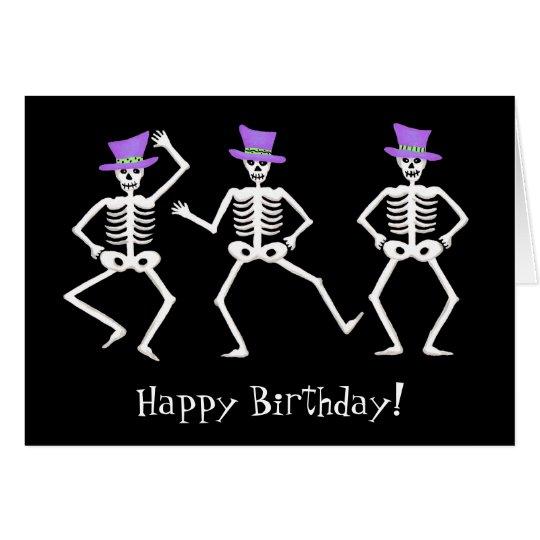 Black Skeleton Dancing Halloween Happy Birthday Card | Zazzle.com