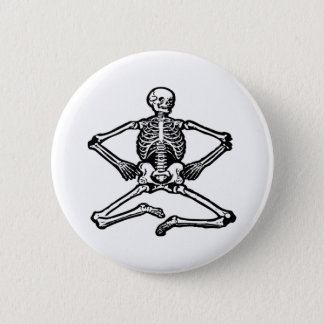 Black Skeleton Pinback Button