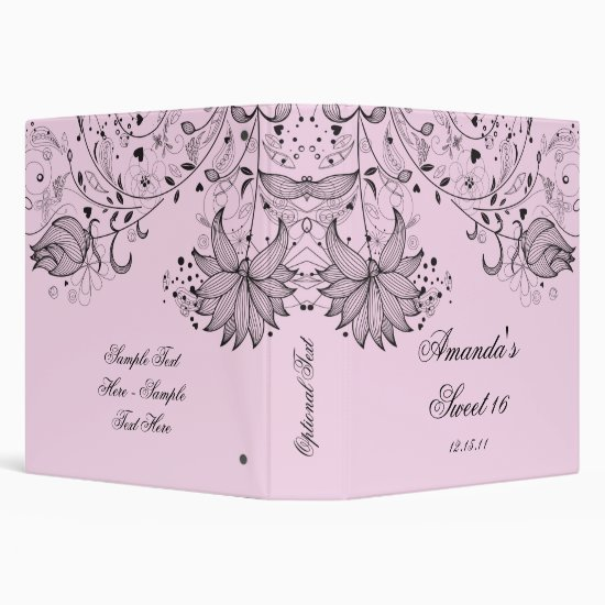 Black Sketched Flowers on Pink Floral Binder