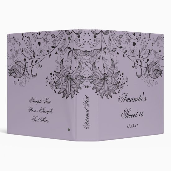 Black Sketched Flowers on Purple Floral Binder