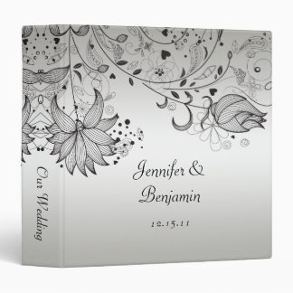 Black Sketched Flowers on Silver Wedding Album Binder
