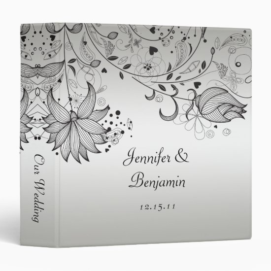 Black Sketched Flowers on Silver Wedding Album Binder