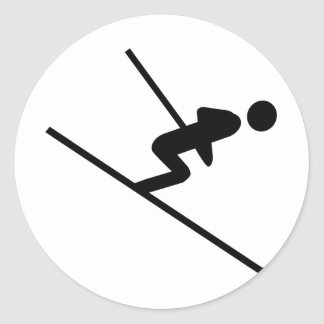 black ski-jumping icon classic round sticker