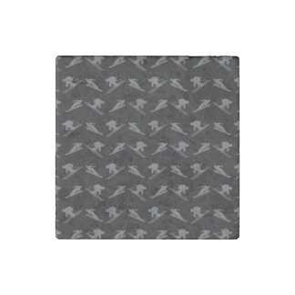 Black ski pattern stone magnet