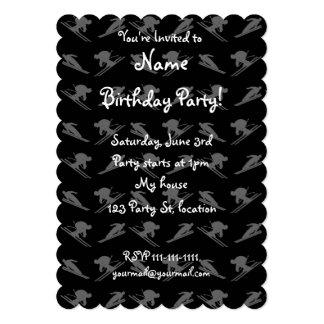 Black ski pattern 5x7 paper invitation card