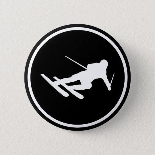 black ski skiing icon downhill button