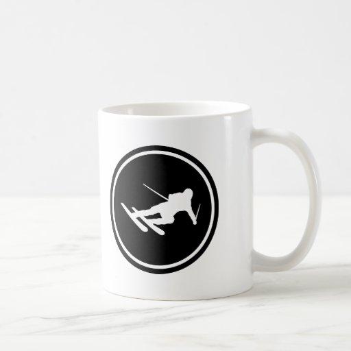 black ski skiing icon downhill coffee mugs