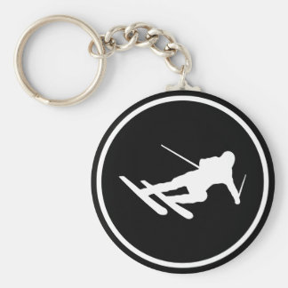 black ski skiing icon downhill keychain