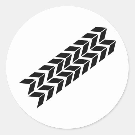 black skidmark icon classic round sticker
