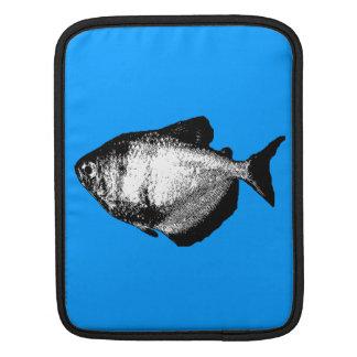 Black Skirt Tetra Fish on Turquoise iPad Sleeve