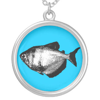 Black Skirt Tetra Fish Silver Plated Necklace