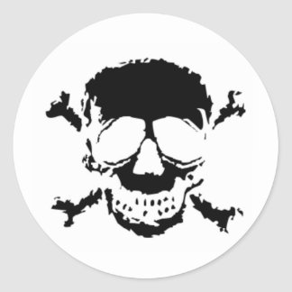 Black Skull and Cross Bones Classic Round Sticker
