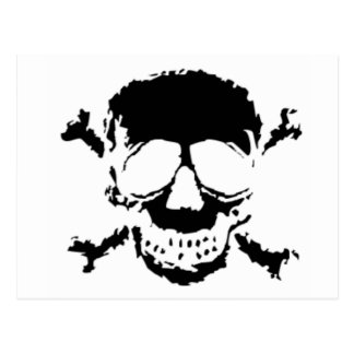 Black Skull and Cross Bones Postcard