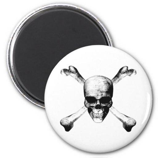 Black Skull and Crossbones Refrigerator Magnets