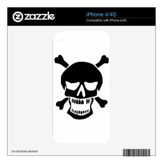 Black Skull and Crossbones Silhouette iPhone 4S Decals