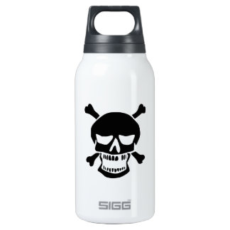 Black Skull and Crossbones Silhouette Thermos Bottle