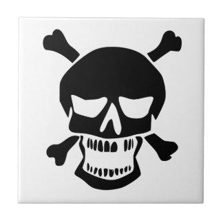 Black Skull and Crossbones Silhouette Ceramic Tiles