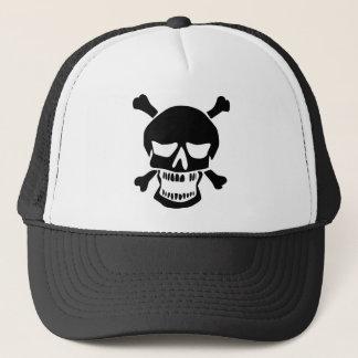 Black Skull and Crossbones Silhouette Trucker Hat