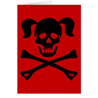 Black Skull and Crossbones With Pigtails Card