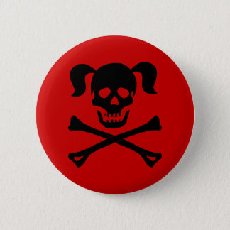 Black Skull and Crossbones With Pigtails Pinback Button