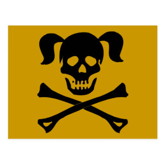 Black Skull and Crossbones With Pigtails Postcard